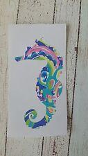 Seahorse Vinyl Car Decal Sticker Tumbler Cup Mug  3.5 h Lilly, Beach, Ocean.