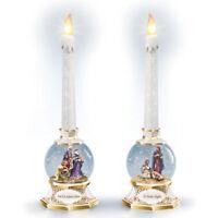 THOMAS KINKADE TK NATIVITY SNOWGLOBE CANDLES Mary, Joseph baby Jesus 3 wise men