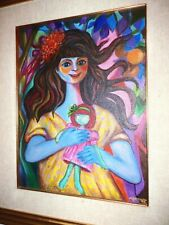 ORIGINAL GIRL BUTTON EYED DOLL ART OIL PAINTING on CANVAS