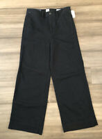 GAP NWT Women's True Black High Rise Wide-Leg Crop Cotton Blend Pants-Size-4