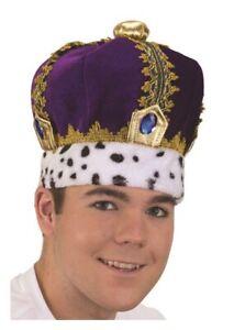 King Queen Crown - Soft Velvet Purple/Gold Jewel - Adult Larger Teen