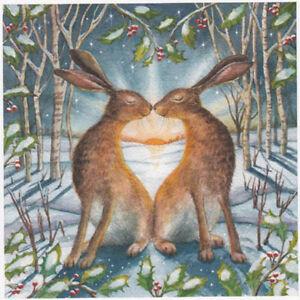 YULE CHRISTMAS GREETING CARD Loving Yule Dawn PAGAN HARE GODDESS WENDY ANDREW