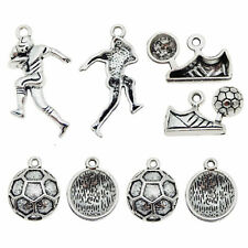 5 ANTIQUE SILVER TRAINER~FOOTBALL BOOT~SHOE~28x9mm CHARM~PENDANT~Key Rings 95H