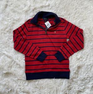Polo Ralph Lauren Striped 1/4 Zip Sweater Boys Navy Red Size M(10-12) 0954