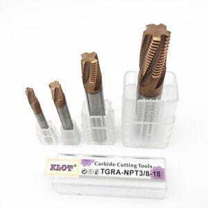 "KLOT HRC60 TiCN Carbide Pipe Thread Mill G/BSPT/NPT/NPTF 1/16 1/8 1/4 3/8 1/2 1"""