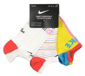 NIKE Big Kids' 3-Pack Everyday Lightweight No Show Socks sz Medium (5Y-7Y)