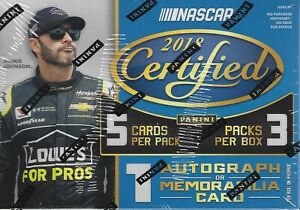 2018 Panini Certified Racing NASCAR New Factory Sealed Blaster Box AUTO RELIC