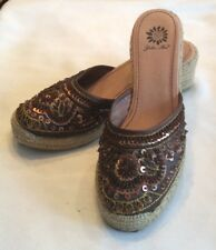 Size 7.5 BROWN SILK SEQUIN RAFFIA YELLOW BOX KINA PLATFORM MULE SHOES