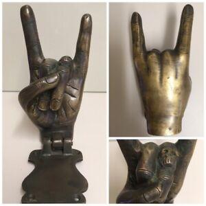 Solid Brass Door Knocker. Hand Sign Of Horns. Rock And Roll Devil Horns.