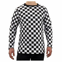Adult Men's RAD 80's Long Sleeve PUNK Checkered Shirt Black White S M L XL 2XL