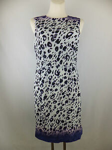 Amor & Psyche Kleid mit Seide 38 M creme schwarz lila  neu m. Etikett  Leo Print