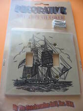DECORATIVE NAUTICAL SHIP SWITCHPLATE COVER FOR DOUBLE TOGGLE SWITCH BEACHCOMB