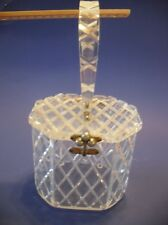 Vintage LUCITE PURSE Clear Diamond Design Hinge Top Hard Plastic Florida Handbag