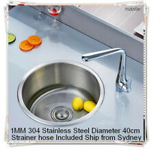 DEEP ROUND KITCHEN SINK BOWL LAUNDRY SINK 304 STAINLESS STEEL 40X20cm STRAINER