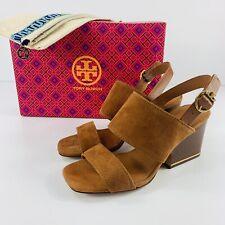 Tory Burch NIB Selby 75mm Block Heel Sandals Ambra Brown Suede Womens 6.5M $278