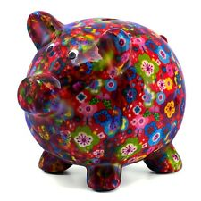 """Red Flowered Pig Ceramic Coin Piggy Bank Figurine 7"""" Long New In Box!"""