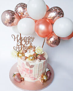 ROSE GOLD BALLOON CAKE TOPPER CONFETTI BABY PARTY BIRTHDAY WEDDING ARCH GARLAND