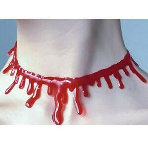 Halloween Fancy Dress Necklace Costume Jewellery Bloody Necklace Blood neck cut