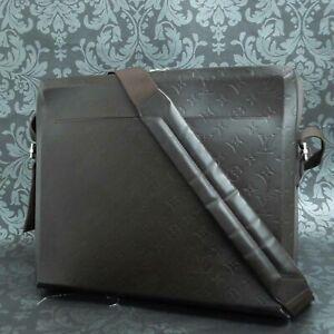 LOUIS VUITTON Monogram Glace Steve Dark Brown Messenger Shoulder Bag #1 Rise-on