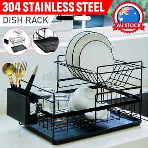 Kitchen 304 Stainless Steel Storage Over Sink Drain Dish Drying Rack Organizer