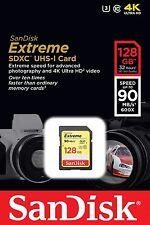 SanDisk 128GB 90MB/s Extreme SDHC SDXC SD Class 10 UHS-I U3 Memory Card 128G 4K