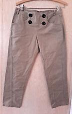 Angel Citiz Women's Tan Khaki Capri Length Pants Button Waist Detail Large 30X25