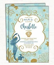 Little Mermaid Birthday Invitation Under the Sea Party Invite Teal Gold Starfish