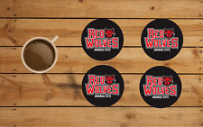 ARKANSAS STATE RED WOLVES ROUND COASTER SET OF 4 CUSTOM MADE