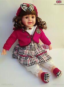 Big Reborn Baby Dolls 60cm Soft body Hair Beautiful Toddler Girl Gift Toy No BOX