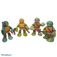 """4 Teenage Mutant Ninja Turtles 2014 Viacom Playmates 6"""" Figures Moving Talks"""