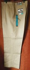 48x32 Men's Dress Pants 100% Cotton Kirkland Signature Khaki Non Iron Flat Front