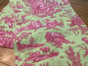 """Vintage Williams-Sonoma Nappe ORLEANS TOILE 70"""" x 90"""" Tablecloth Green Pink"""