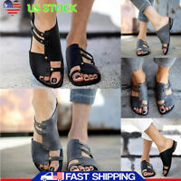 US WOMEN LADIES FLAT SLIPPERS OPEN TOE NON SLIP MULES SUMMER SANDALS SHOES SIZE