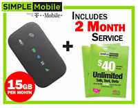 New Mobile Hotspot ZTE Z291 4G LTE + 2 months Simple Mobile $40 Plan 15GB/mo