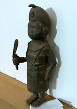 Real Antique Solid Bronze Statue Of Female Figure Holding A Fan - From Benin