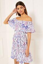 LIPSY Paisley Print Frill Bardot Dress Size 12