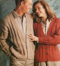 "Ladies & Mens Rib abd Cable V Neck Cardigans Knitting Pattern DK 32-46"" 1141"