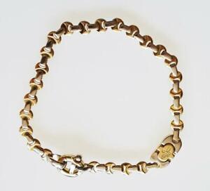 "Genuine BARAKA 18K Yellow & White Gold Link Bracelet Made in Italy Size 8 1/2"""