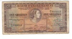 BERMUDA 5 Shillings F/VF Queen Elizabeth II Banknote (1957) P-18b Prefix P/1