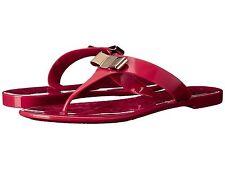 SALVATORE FERRAGAMO Jelly Thong Sandal Pink Flip Flop Slide Gold Logo Bow 10