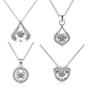 Elegant 925 Silver Simple Geometric Brilliant CZ Pendant Necklaces Women Jewelry