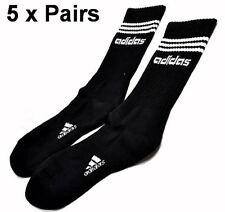 Adidas 3 Stripes Socks 5x Pairs Black Sport Business Running School Soccer Work