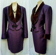 CHLOE by KARL LAGERFELD Womens Sm Vtg Purple Shantung Brown Velvet Skirt Suit
