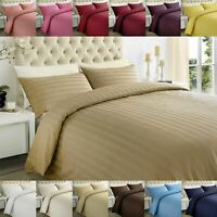 250 Thread Count Egyptian Cotton Sateen Stripe Duvet Quilt Cover Bedding Set