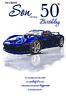 50th SON BIRTHDAY CARD AGE 50 ~ QUALITY CARD CAR DESIGN WITH NICE VERSE BY IC&G