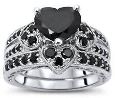 2.15 Ct Black Heart Shape Diamond Engagement Wedding Ring Set 925 Silver