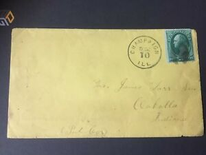 US Cover Dez.10.1880 Champaign ILL to Clakolla Indiana selten angeboten RRR