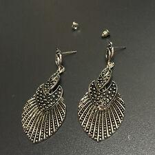 Bohemian Boho Style Ethnic Leaf Shaped Antique Silver Dangle Stud Women Earrings