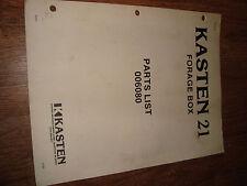 Kasten Forage Box Parts List 006080