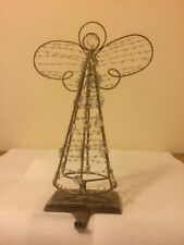 POTTERY BARN Brass Heavy Christmas CRYSTAL ANGEL Stocking Holder Mantle Hanger